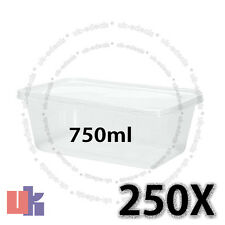 250 Square Plastic Kitchen Food Takeaway Box Container & Lid 750ml 178x125x54mm