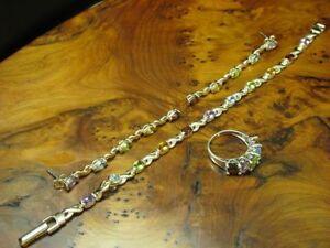 925 Sterling Silver Jewelry Set With Garnet,Citrine,Topaz,Amethyst & Peridot