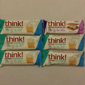 6 THINK! THIN PROTEIN BARS CUPCAKE BATTER & S'MORES NUTRITION ENERGY GLUTEN FREE