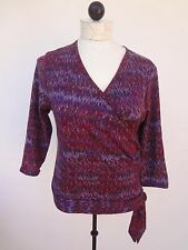NWT CLIO SZ Medium Purples RETRO Knit Tie Faux Wrap 3/4 Slv TOP~J.C.Penny's Tag