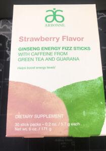 Arbonne STRAWBERRY 30 FIZZ STICKS, Limited Edition Ginseng Energy Guarana