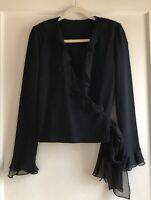 St. John Collection Black Santana Knit Ruffle Wrap Cardigan Sweater Size 4 6