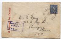 1941 Australia to US censored cover 3d George VI [y1720]