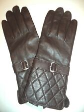 Ladies Quilted Cuff Genuine Leather Gloves,Large, Brown