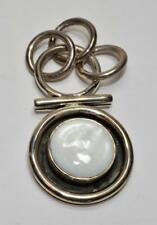Stamped 925 SILPADA Sterling Silver Mother of Pearl Round Shape Pendant 21.43g