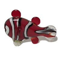 """Murano Venezia Glass -8"""" Tiger Fish -Red Black & White -Hand Blown in Italy"""