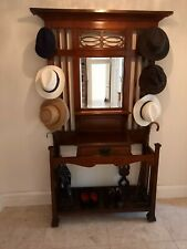 More details for antique edwardian hall coat stand with mirror, drawer and 2 shelves