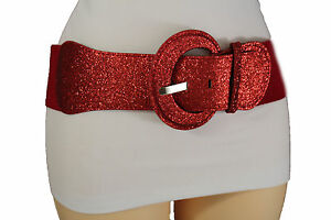 Women Stretch Red Color Hip Waist Holidays Fashion Belt Sparkling Glitter XS S M