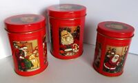 Christmas Tin Old Fashioned Santa 3 Nesting Round Red Never Used Vintage