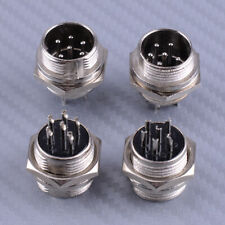 4Pcs Male DIN Plug Socket Connector 6-PIN Chassis Cable Mount