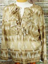 LRL Lauren Jeans Co 3X Blouse Ruffled Top Native Print Long Sleeves Semi Sheer