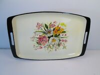 """Vintage Lacquer Ware Floral Serving Tray Mid Century Modern Retro 16"""" Japan"""