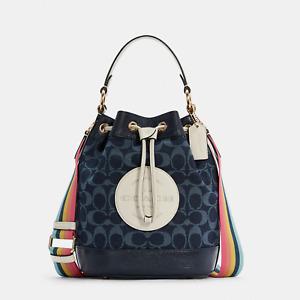 NWT Coach C4101 Dempsey Drawstring Bucket Bag in Signature Denim *SEALED*