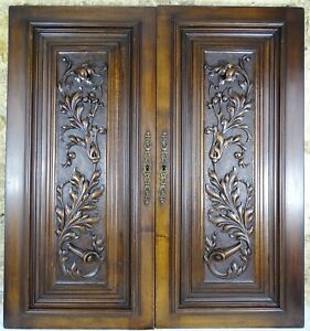 Antique French Renaissance Carved Wood Doors Wall Panels Solid Walnut