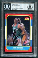 Sam Perkins #86 signed autograph auto 1986-87 Fleer Basketball Card BAS Slabbed