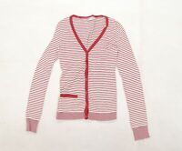 Topshop Womens White Striped  Cardigan Jumper Size 10