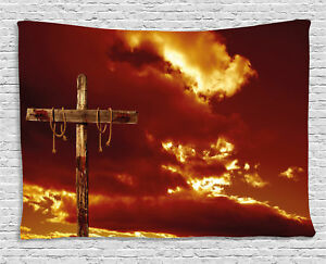 Religious Tapestry Empty Cross Messiah Print Wall Hanging Decor 60Wx40L Inches
