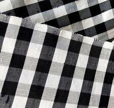 "100% Silk Dupioni Fabric Black White Gingham Check 40""  Slub Silk By The Yard"