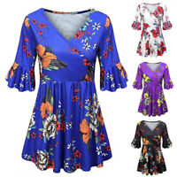 Women Plus Size V Neck Floral Summer Wrap Blouse Long Tunic Top Swing T-shirts