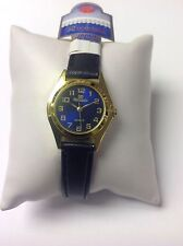 New Ricardo Ladies Blue Face Clear Dial Quartz Watch - Leather Strap  #65blue