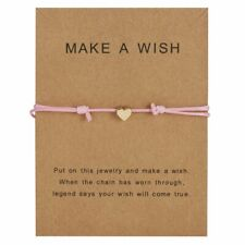 Women Heart Wish Bracelet Pink Rope Bangle Friendship Couple Card Jewelry Gifts