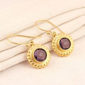 Round Shape Purple Amethyst Quartz Twisted Wire Gold Plated Drop Dangle Earrings