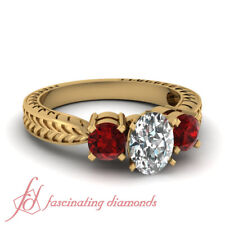 1 Ct 3 Stone Yellow Gold Oval Shape Diamond & Ruby Engagement Ring Vintage Style