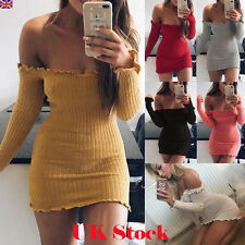 Womens Off Shoulder Bandage Bodycon Party Evening Ladies Short Mini Jumper Dress