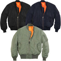 Mens Classic MA-1 Heavy Brass Zip Reversible Orange Flight Pilot Bomber Jacket