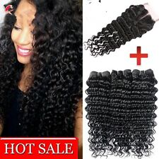 8A 300g/3bundles brazillian deep wave human With Closure Middle,side Or Free