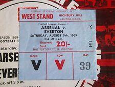 Ticket Arsenal Everton 1969/1970 1969 1970 Stub