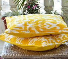 Handmade Yellow Ikat Kantha Thanks Giving Pillow Case Cushion-Cover Sofa-16""