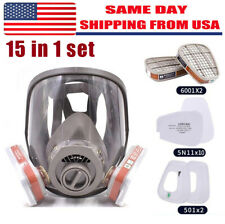 15in1 Gas Mask / Filter Full Face Facepiece Respirator For 6800 Safety Equipment