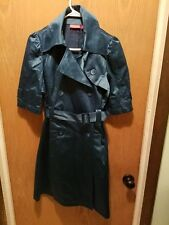 Elle Womens Trench Coat Short Sleeve Shiny Teal Double Breasted Belted Size XS