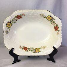 """Adam Antique Steubenville 8""""x10"""" Gilded Edge Porcelain Floral Serving Bowl FINE+"""