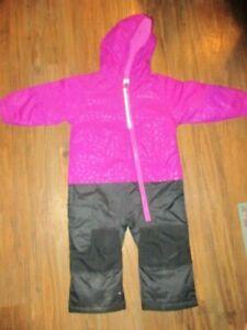 COLUMBIA Little Dude SNOWSUIT PINK BLACK 1 PIECE Snow Pants 18-24 MO. EEC!!