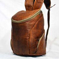 Backpack Bag Leather Vintage Rucksack Laptop Shoulder Travel School Bottom Brown