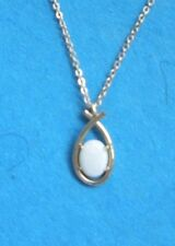"GENUINE WHITE OPAL OVAL PENDANT w/ 18"" GOLD CHAIN NECKLACE & SETTING"