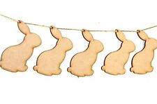 Wooden Party Bunting Rabbit Embellishments Craft Decoration Blanks MDF Shapes