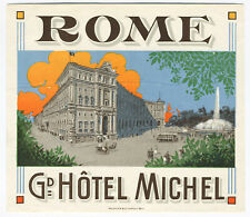 Early 1900's Numbered Richter Rome Italy Hotel Luggage Label