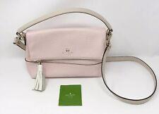 Kate Spade Soft Pink White Leather Crossbody Bag Purse Satchel Adjustable Strap