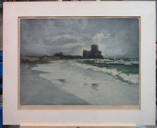 "Luigi Kasimir Rare 1920s Color Etching Aquatint ""Torre Astura"" Italy Listed"