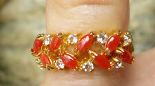 NATURAL CORAL RING 8 Marquise Shaped Corals 6 Cz accent stones Gold Finish Sz. 5