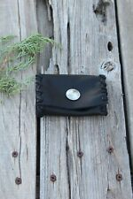Small black leather wallet , Black leather card holder , Card pocket