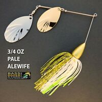 Bassdozer spinnerbaits FLUTED BULLET 3/4 oz PALE ALEWIFE spinner bait baits