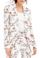 INC Womens Blazer Jacket White Size Medium M Floral Single Button $119 189