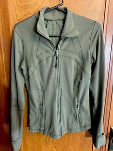 LULULEMON Women's  Full Zip Define Jacket Olive Green Size 8 ~ Vented  Pockets