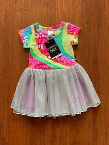 Bonds Baby Girl Rainbow Pride Purple Silver Short Sleeve Tutu Dress Size 1 BNWT