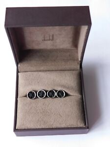 DUNHILL STERLING SILVER RIBBON ROSETTE SHIRT STUDS, RRP £295 NWT DUNHIL BOX