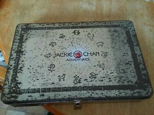 Jackie Chan Adventures Tin with 4 Talisman/Medals & Assorted Collectors Cards